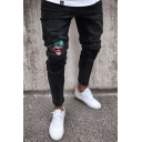Men's Stylish Monkey Embroidery Patched Pleated Ripped Detail Zip Vent Black Skinny Jeans