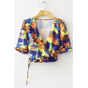 Summer Holiday Fashion Tropical Leaf Printed Surplice V-Neck Drawstring Hem Cropped Blouse Top