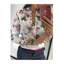 Hot Popular Vintage White Floral Printed Stand Collar Long Sleeve Button Down Shirt Blouse