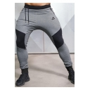 Men's Fashion Colorblock Pleated Patched Logo Printed Drawstring Waist Skinny Sports Pencil Pants