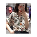 Summer Girls Vintage Cartoon Floral Printed Notched Lapel Collar White Short Sleeve Shirt