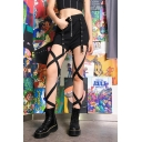 Girls Summer Cool Street Style Black Zipper-Fly Hollow Out Lace-Up Suspender Multi-Way Shorts