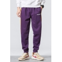 Men's Street Style Fashion Letter Printed Colorblock Tape Patched Elastic Cuffs Casual Loose Track Pants