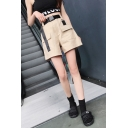 Summer Cool Street Style Flap Pocket Front Casual Loose Work Shorts for Women
