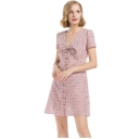 Summer Fancy Pink Striped Bow-Tied V-Neck Short Sleeve Button Down Mini A-Line Dress
