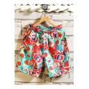 Summer Popular 3D Drink Pattern Drawstring Waist Beach Shorts Swim Trunks for Guys with Pockets