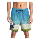 Funny 3D Cartoon Rabbit Pattern Casual Drawstring Waist Blue Beach Shorts Swim Trunks for Guys