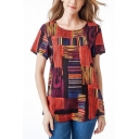 Summer Fashion Pattern Round Neck Short Sleeve Relaxed Fit T-Shirt