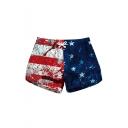 Womens Cool Blood Star Stripe Flag Printed Drawstring Waist Quick Dry Beach Shorts Swimwear