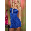 Womens Sexy Strapless Ruched Blue Mini Bandage Bandeau Dress for Party