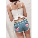Womens Summer Unique Flag Pocket Back Sexy Lace-Up Side Fringed Hem Skinny Fit Hot Pants Denim Shorts