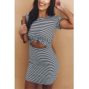 Unique Sexy Black and White Striped Print One Shoulder Mini Bodycon Dress