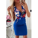 Womens Summer Chic Floral Printed Surplice V-Neck Sleeveless Button Embellished Mini Bodycon Pencil Dress