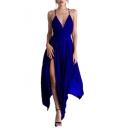 Summer Plain V-Neck Sleeveless Maxi Asymmetrical Slip Dress