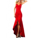 Womens Sexy V-Neck High Low Ruffled Hem Ruched Detail Maxi Bodycon Cocktail Slip Dress