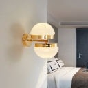 2-Light Hemisphere Wall Lamp for Bedside Hallway Post Modern White Glass Wall Lighting in Gold Finish