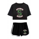 Summer Trendy Snake Logo Printed Short Sleeve Crop Tee with Sport Loose Shorts Two-Piece Set