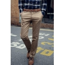 Fashionable Basic Simple Plain Men's Slim Fitted Casual Cotton Dress Pants
