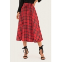 Womens Fancy Red Plaid Printed Bow-Tied Waist Maxi A-Line Swing Skirt