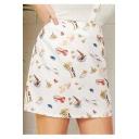 Womens Plus Size Summer Stylish Cartoon Printed White Mini A-Line Skirt