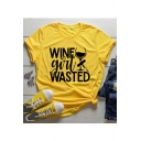 Funny Letter WINE GIRL WASTED Loose Fit Graphic Tee