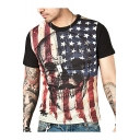 Guys Summer Cool Rock Style Flag Skull Printed Round Neck Short Sleeve Black Fitted Tee