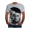 Funny Multi-Face Figure Print Round Neck Short Sleeve Grey T-Shirt