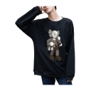 Popular Funny Cute Doll Printed Round Neck Long Sleeve Sport Loose Sweatshirt