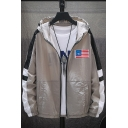 Guys Simple Flag Patched Colorblocked Long Sleeve Breathable Lightweight Zip Up Hooded Coat Jacket