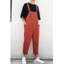 Guys Trendy Simple Plain Adjustable Straps Casual Loose Cotton Overalls