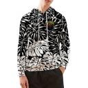 Trendy Black Leaf Pattern Long Sleeve Loose Fitted Unisex Hoodie