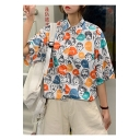 Girls Vintage Funny Cartoon Face Printed Short Sleeve Loose Shirt