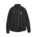 Simple Moon Sun Embroidery Vertical Striped Long Sleeve Button Shirt