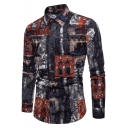 Mens New Stylish Printed Long Sleeve Navy Button Up Slim Fit Shirt