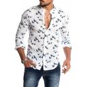Mens Trendy Allover Bird Print Stand Collar Long Sleeve Button Front White Slim Linen Shirt