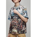 Guys Unique Fashion Abstract Oil Painting Short Sleeve Loose Fit Holiday Shirt