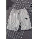 Men's Summer Hot Trendy Leaf Embroidery Pattern Elastic Waist Relaxed Cotton Sweat Shorts