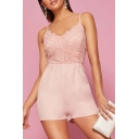 Womens New Trendy Sexy Pink Spaghetti Straps Backless Lace Panel Romper