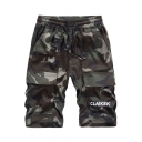 Men's Summer Fashion Cool Camouflage Letter Print Drawstring Waist Leisure Cargo Shorts