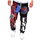 Men's Popular Fashion Letter USA Statue of Liberty Printed Drawstring Waist Loose Fit Casual Sweatpants