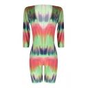 Summer Hot Stylish Deep V Neck Tie-Dye Print Half Sleeve Romper for Women