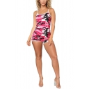 Womens Summer Stylish Spaghetti Straps Sleeveless Camo Romper Playsuit