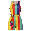 Summer Sexy Girls Hot Stylish Sleeveless Rainbow Striped Print Tie-Side Zip- Back Fitted Romper