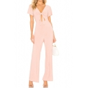 Womens Graceful Sexy Stylish Pink V-Neck Hollow Out Tie Front Fitted Jumpsuit for Night Club