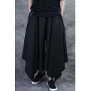 Men's Trendy Dark System Simple Plain Black Loose Fit Irregular Culottes Wide Leg Pants