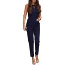 Women Hot Stylish Simple Plain Sleeveless Lace Cutout Zipper-Back Slim Jumpsuits