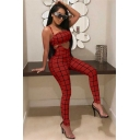 Womens Hot Sexy Fashion Plain Check Print Cutout Straps Skinny Fitted Jumpsuits