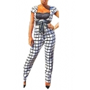 Womens Fashion White Check Plunge V Neck Short Sleeve Tie Waist Jumpsuits for Party