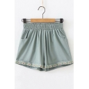 Summer Girls Green Elastic Waist Simple Embroidery Hem Loose Loungewear Shorts