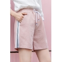 Girls Summer Trendy Striped Side Drawstring Waist Casual Loose Half Shorts